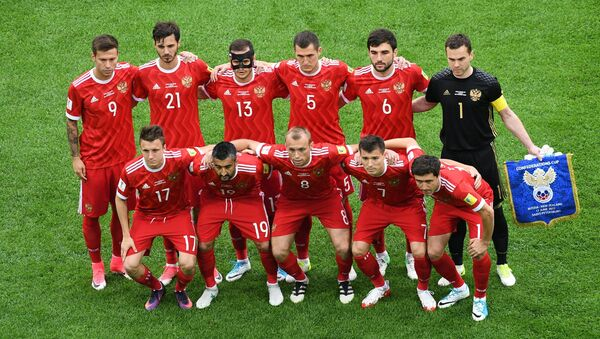 Russia team group before the match Russia v New Zealand - FIFA Confederations Cup Russia 2017 - Group A at the Saint Petersburg Stadium, Russia - Sputnik International