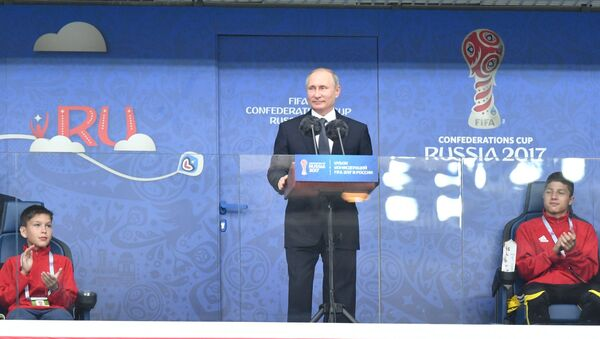 Russian President Vladimir Putin speaks at the St. Petersburg Arena ahead of the 2017 Confederations Cup opening match between the national teams of Russia and New Zealand - Sputnik International