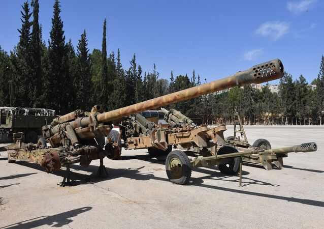 Weapons that need to be repaired at the artillery weapon, mortar and small arms repair works in Hama province, Syria