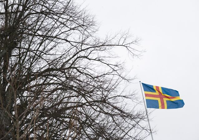 Flag of the southwestern Finnish Aaland Islands of the Baltic Sea flying in Mariehamn. (File)