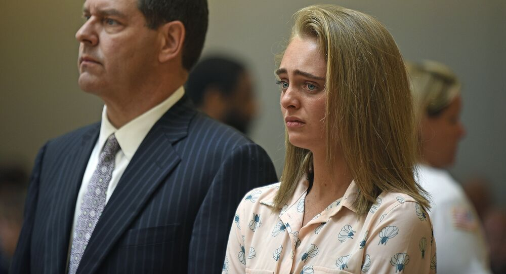Michelle Carter and her attorney Joseph Cataldo stand to hear Judge Lawrence Moniz announce his verdict on Friday, June 16, 2017, in Bristol Juvenile Court in Taunton, Mass.