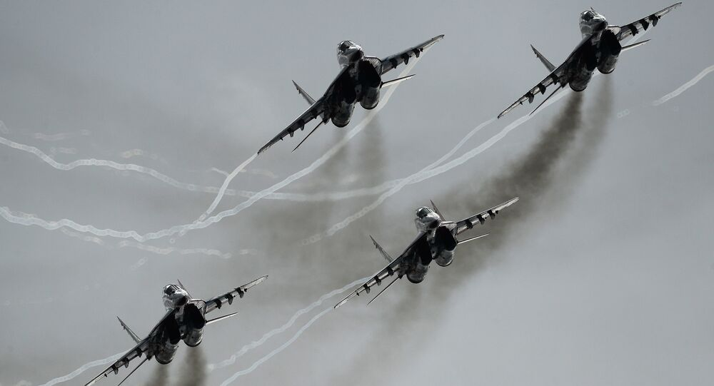 MiG-29 multipurpose fighter aircraft of the Swifts aerobatic team participate in an airshow at the Kubinka air base during the international military-technical forum ARMY-2016. (File)