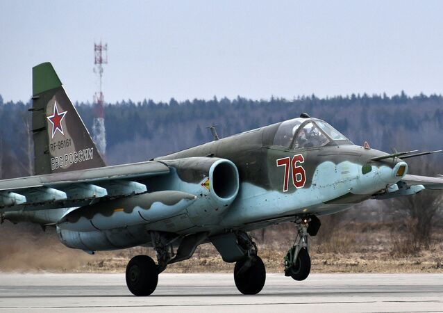 A Su-25 assaulter during the rehearsal of the air part of the Victory Parade
