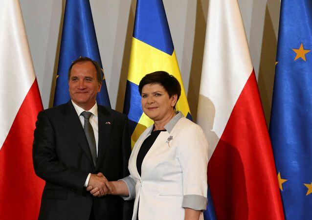 Poland's Prime Minister Beata Szydlo meets Sweden's Prime Minister Stefan Lofven in Warsaw, Poland June 20, 2017