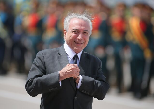 Brazilian President Michel Temer arrives in Moscow