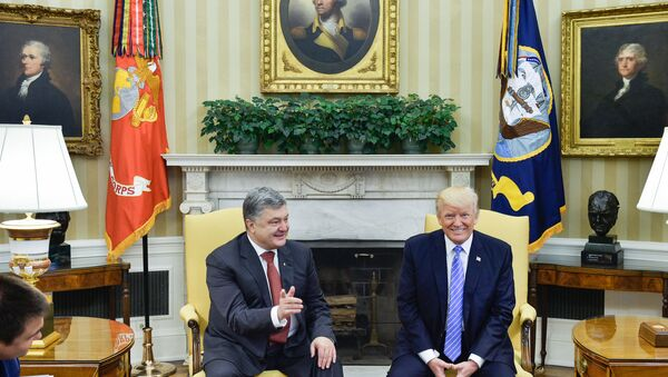Ukrainian President Petro Poroshenko, left, and US President Donald Trump during their meeting. The image is a handout material courtesy of a third party. Editorial use only. Archiving, commercial use and advertising prohibited - Sputnik International