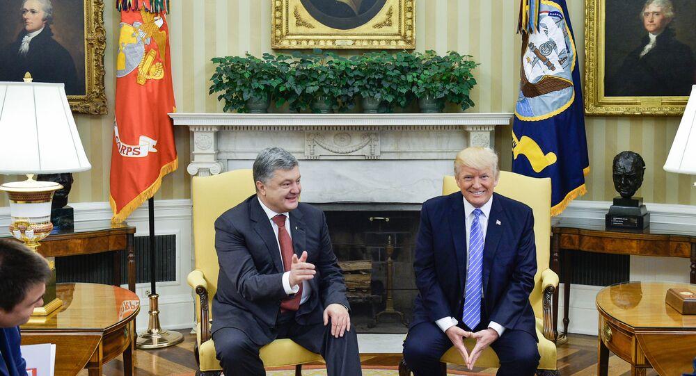 Ukrainian President Petro Poroshenko, left, and US President Donald Trump during their meeting. The image is a handout material courtesy of a third party. Editorial use only. Archiving, commercial use and advertising prohibited