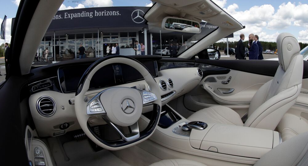The interior of a Mercedes-Benz car is seen at a new Mercedes-Benz plant's cornerstone laying ceremony in the town of Esipovo outside Moscow, Russia, June 20, 2017