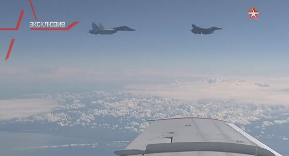 NATO's F-16 fighter being driven away from the Russian defense minister's plane in the Baltic airspace by a Su-27 jet.