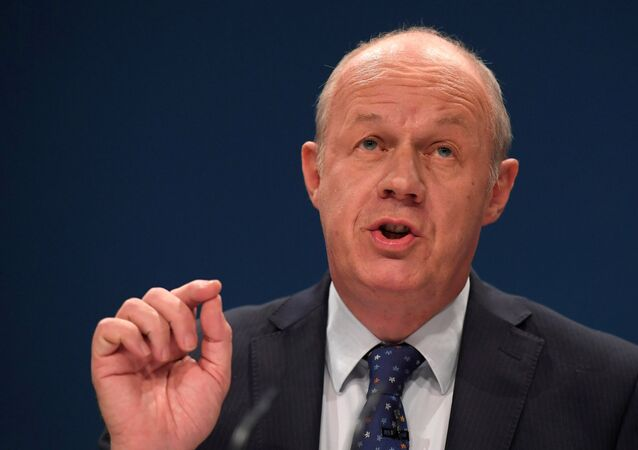 (File) Britain's Work and Pensions Secretary Damian Green delivers his keynote address at the annual Conservative Party Conference in Birmingham, Britain, October 4, 2016