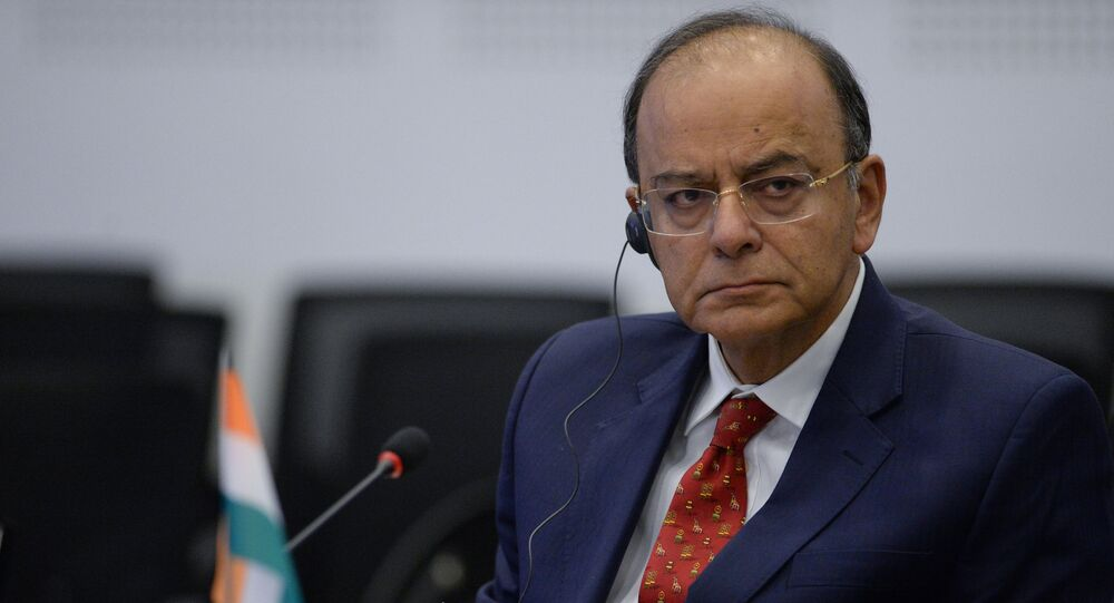 Indian Defense Minister Arun Jaitley at the 5th Technoprom International Forum of Technological Development in Novosibirsk