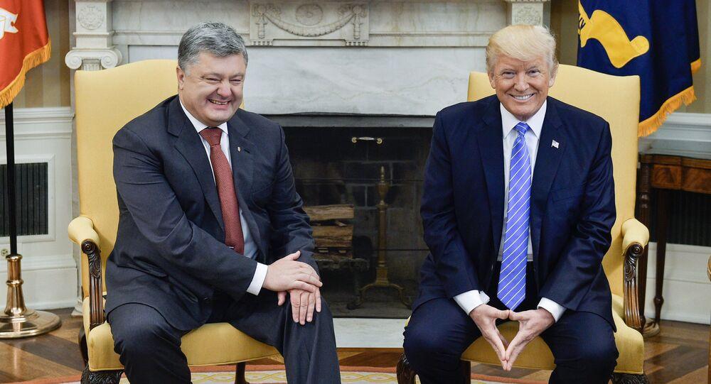 Ukrainian President Petro Poroshenko, left, and US President Donald Trump during their meeting