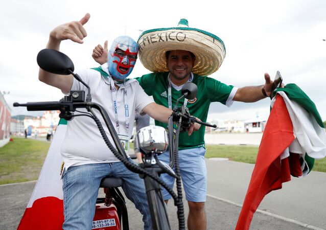 Soccer Football - Mexico v New Zealand - FIFA Confederations Cup Russia 2017 - Group A - Fisht Stadium, Sochi, Russia - June 21, 2017 Mexico fans outside the stadium before the game
