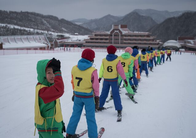 This photo taken on February 19, 2017 shows members of a 'ski camp' at the Masikryong ski resort, near North Korea's east coast port city of Wonsan.