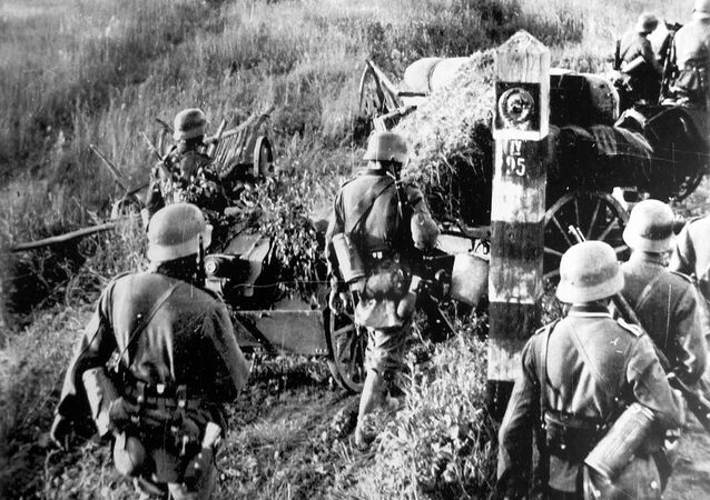 Nazi German troops at the Soviet state border marker, 22 June 1941