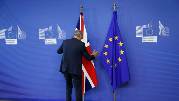 Flags are arranged at the EU headquarters as Britain and the EU launch Brexit talks in Brussels, June 19, 2017 - Sputnik International