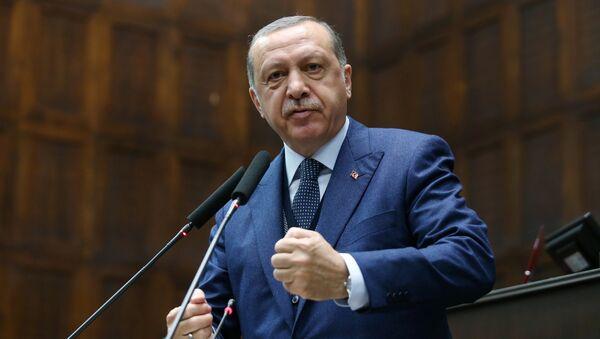 Turkish President Tayyip Erdogan addresses members of parliament from his ruling AK Party (AKP) during a meeting at the Turkish parliament in Ankara, Turkey, June 13, 2017 - Sputnik International