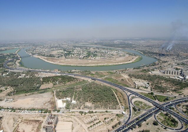 An aerial view of the Tigris River as it flows through Baghdad