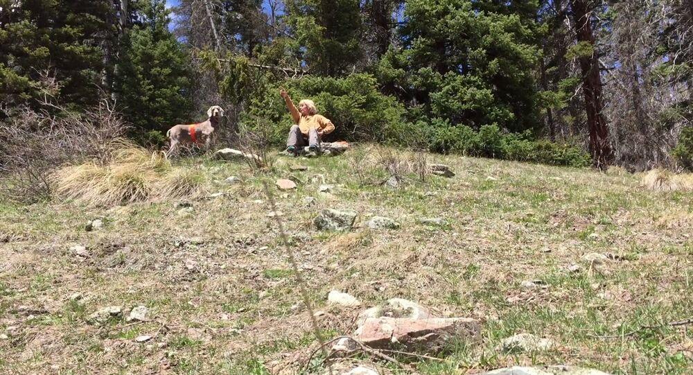 US Treasure hunter Cynthia Meachum and her dog Molly.