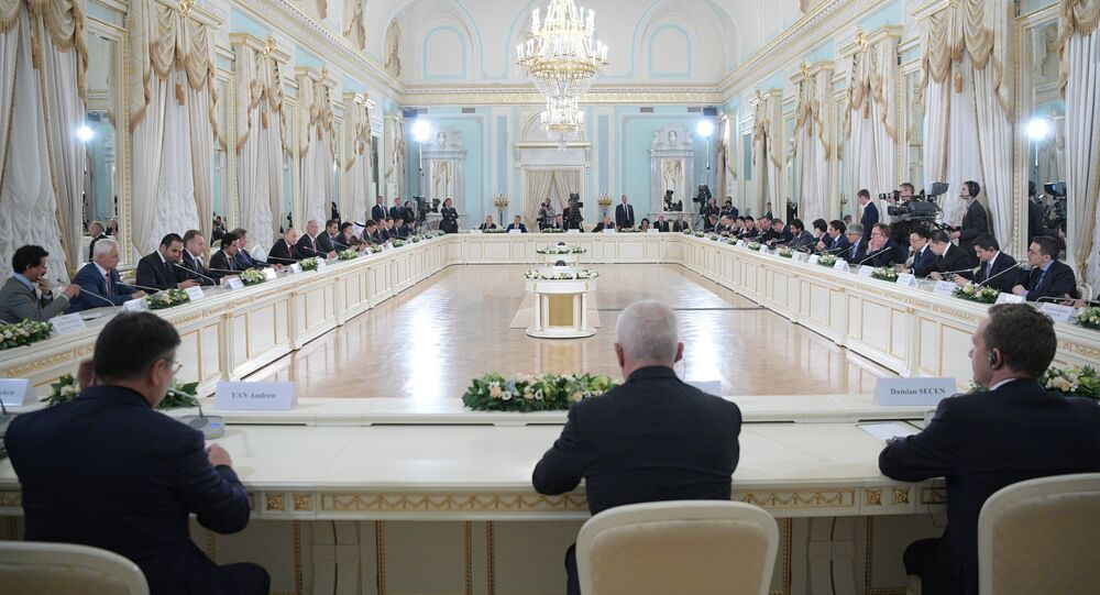 June 1, 2017. Russian President Vladimir Putin meets with activists of the international expert council of the Russian Direct Investment Fund and representatives of the international investment community in the Constantine Palace in Strelna at the 2017 St. Petersburg International Economic Forum