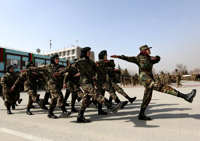 New members of the Afghanistan's National Army march during their graduation ceremony at the Afghan Military Academy in Kabul, Afghanistan (File)