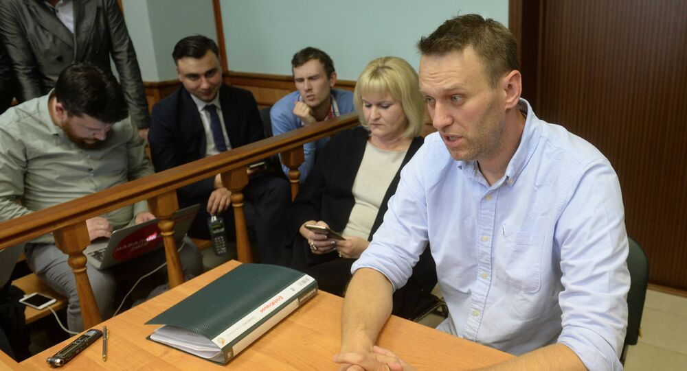 Alexei Navalny is seen here in Moscow City Court which considered his complaint over a 30 day administrative arrest for organizing an unauthorized rally in Moscow