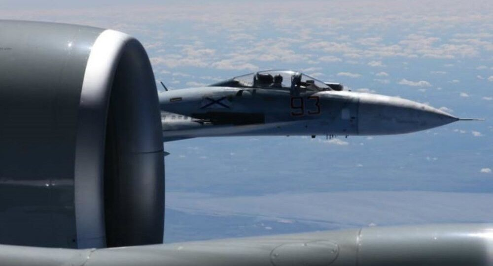 A U.S. RC-135U flying in international airspace over the Baltic Sea was intercepted by a Russian SU-27 Flanker June 19, 2017