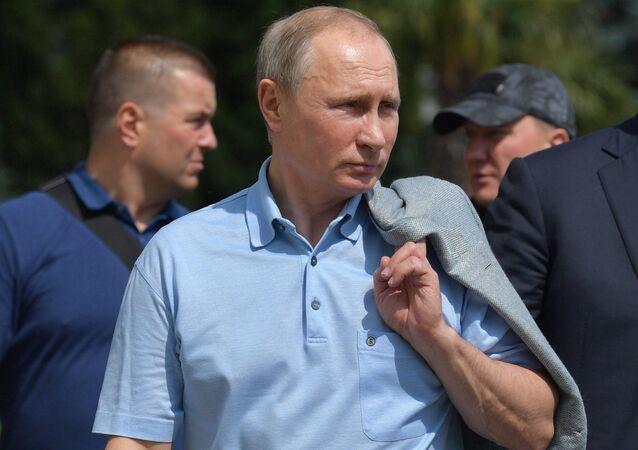 Russian President Vladimir Putin visits the Artek international children's center in Crimea