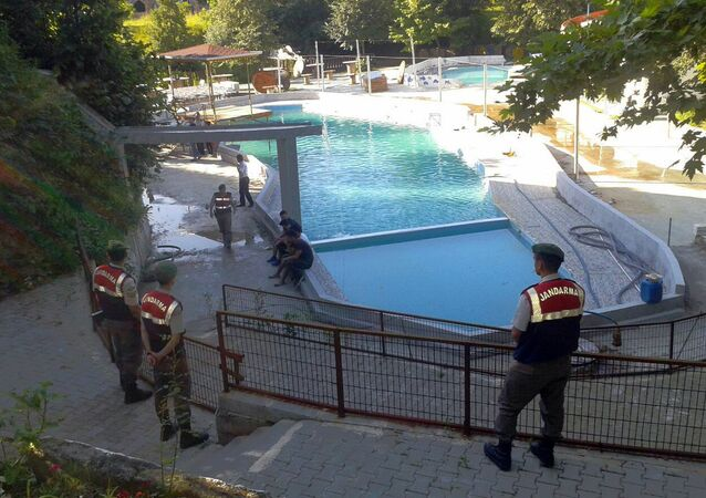 Five people were caught up in an electrical current in the pool at the park in the town of Akyazi
