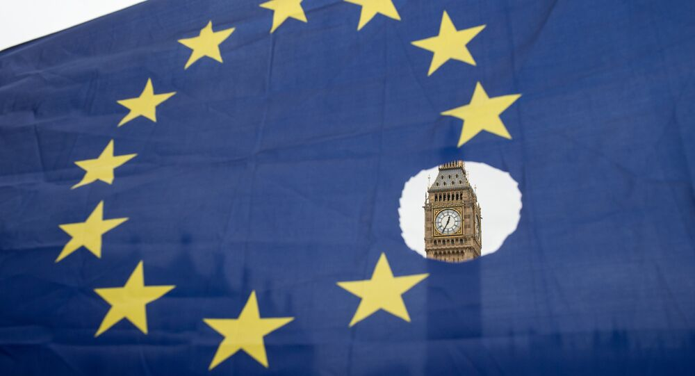 This file photo taken on March 29, 2017 shows a pro-remain protester holds up an EU flag with one of the stars symbolically cut out in front of the Houses of Parliament shortly after British Prime Minister Theresa May announced to the House of Commons that Article 50 had been triggered in London on March 29, 2017.