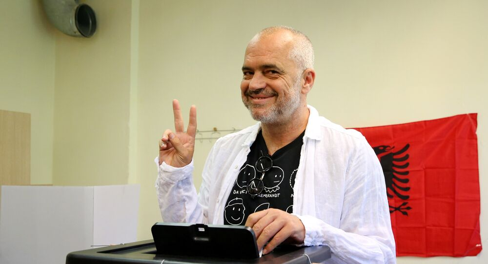 Albanian Socialist Party leader Edi Rama casts his vote during the parliamentary elections in Surel near Tirana, Albania June 25, 2017.