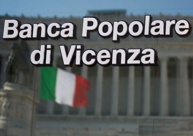 A Banca Popolare di Vicenza sign is seen in Rome, Italy, March 29, 2017.