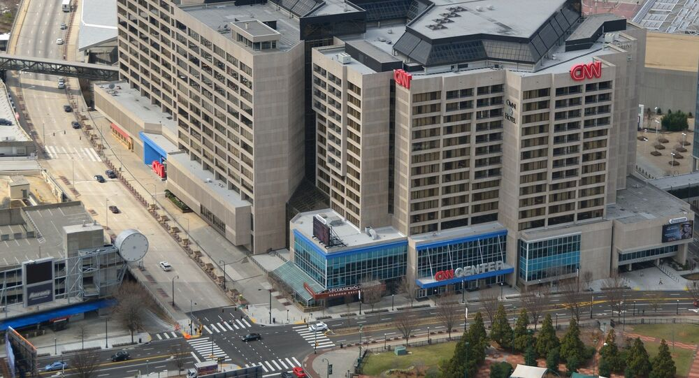 Aerial view of the CNN Center.