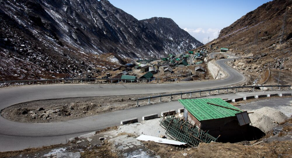 This photograph taken on February 11, 2017, shows a hairpin bend on a road near Tsomgo Lake in the north-eastern Indian state of Sikkim.