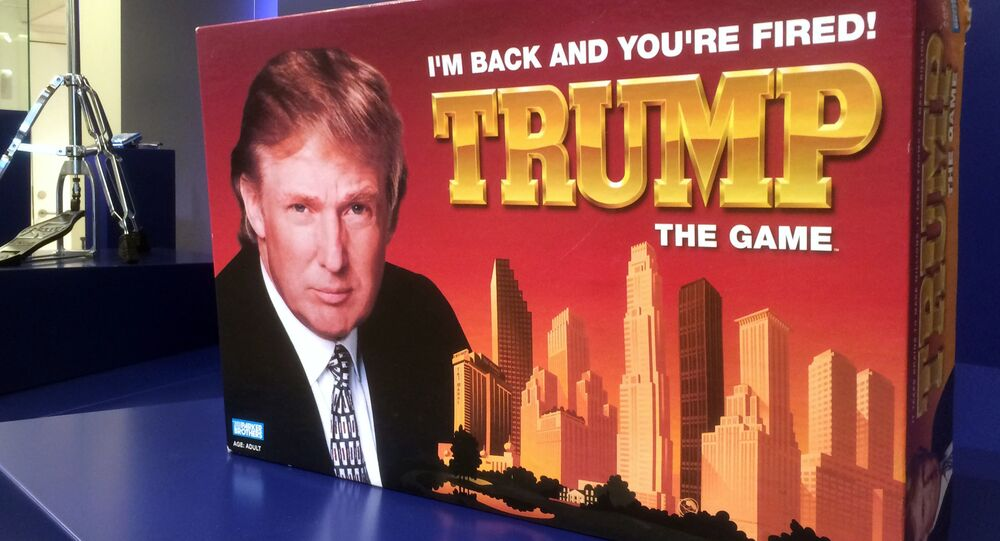 In this photo taken on Thursday, June 1, 2017, the board game 'Trump: I'm Back And You're Fired' is on display at the Museum of Failure in Helsingborg, Sweden