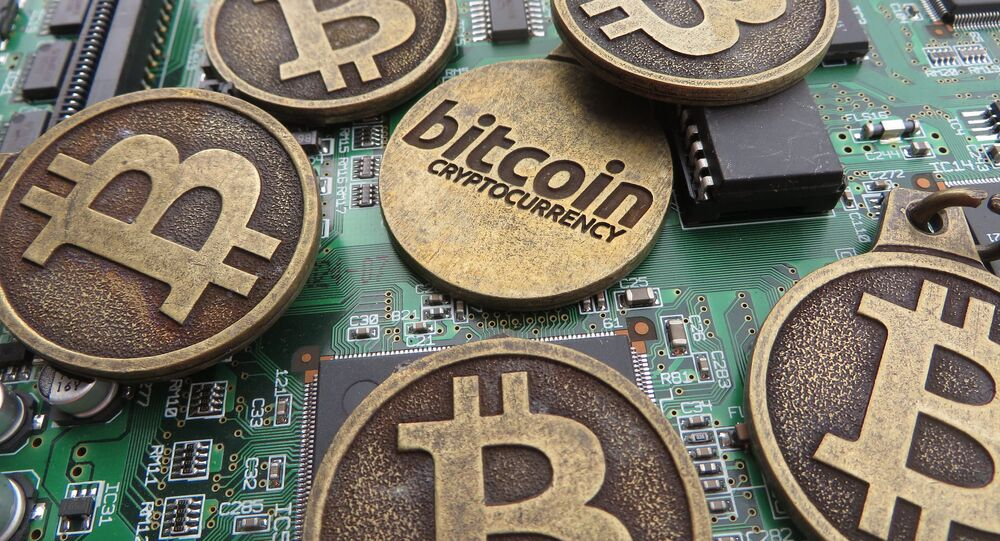 Bitcoin keychains on circuit board