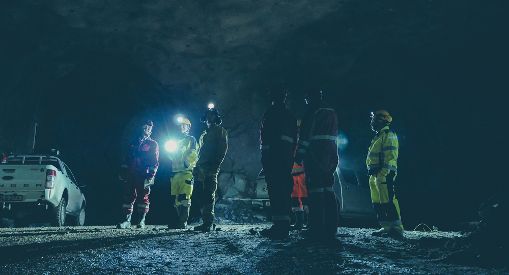 Mining engineers and telecoms experts in the Kankberg mine in northern Sweden, where a unique project has been led by Ericsson.