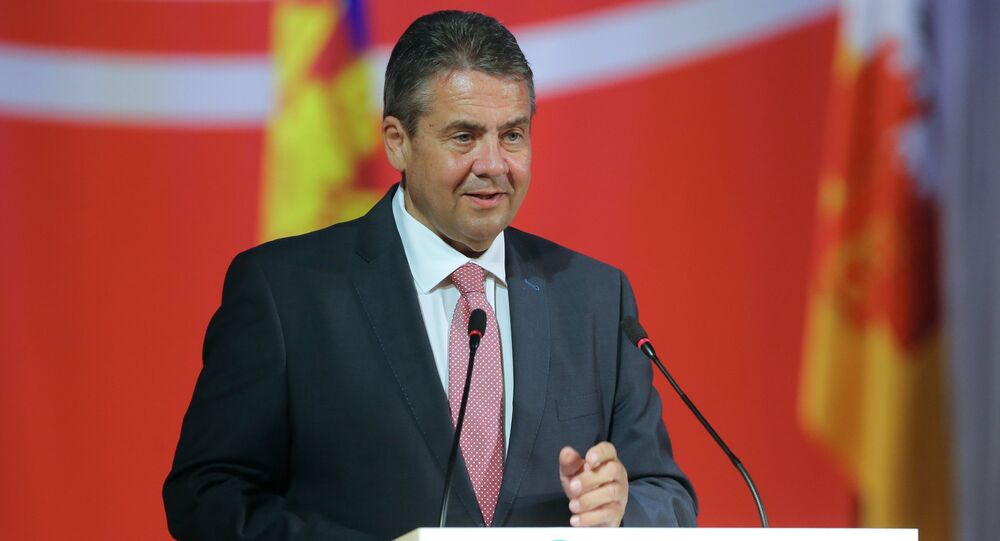 German Foreign Minister Sigmar Gabriel speaks at the 14th Conference of the Russian and German Partner Cities in Krasnodar