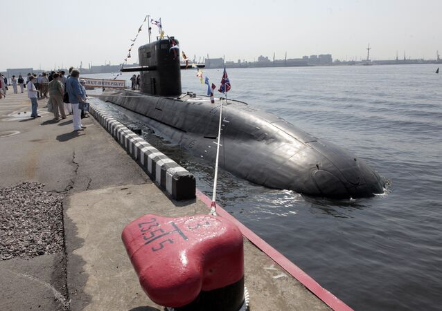 Visitors look at St Petersburg diesel electric submarine of the Lada class at the International Maritime Defense Show in St Petersburg. File photo