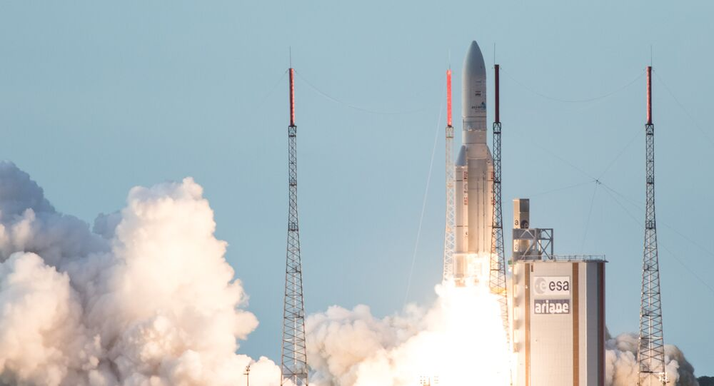 (File) An Ariane 5 rocket lifts off from the French Guiana Space Center