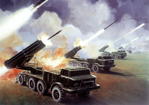 The Soviet 16-tube, 220-mm BM-27 multiple rocket launcher Uragan. Illustration found in a 1980s-vintage 'Soviet Military Power' report released by the Pentagon