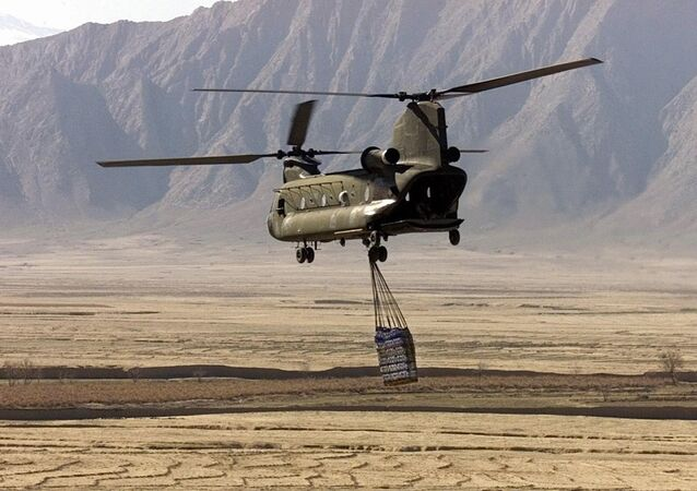 A US Army CH-47 Chinook helicopter carries cargo in Afghanistan (File)