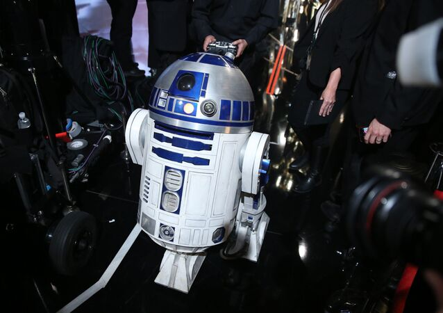R2-D2 appears backstage at the Oscars on Sunday, Feb. 28, 2016, at the Dolby Theatre in Los Angeles.