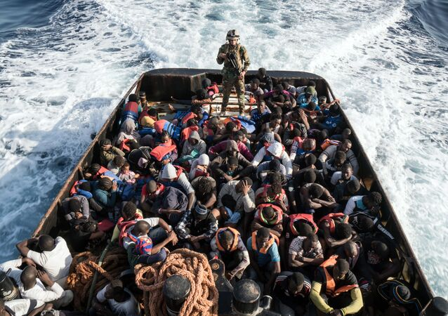 A boat with 147 illegal immigrants attempting to reach Europe