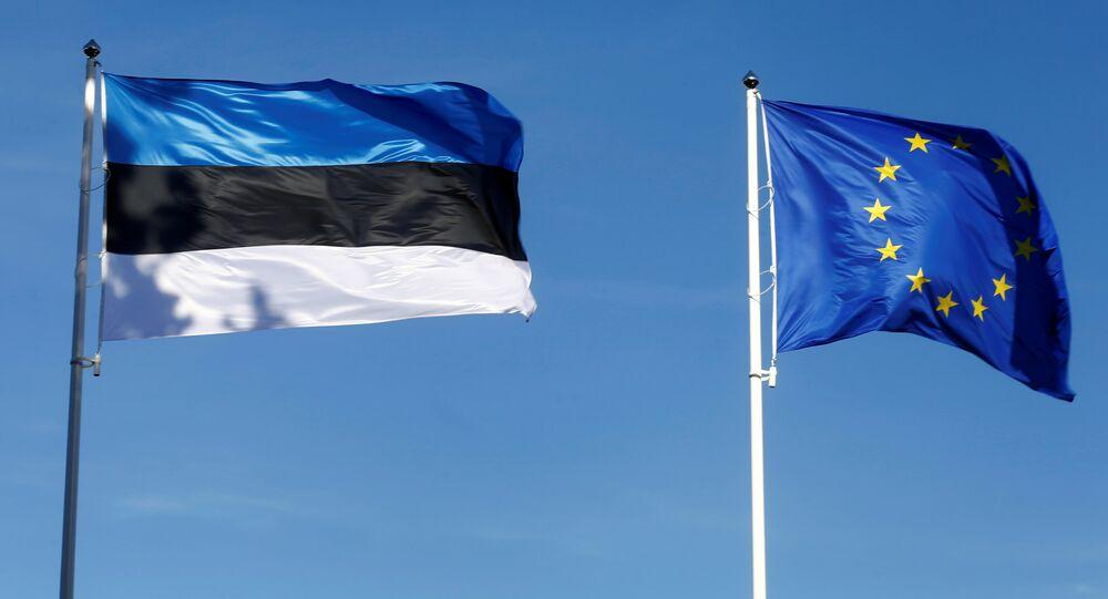 Estonia's and EU flags flutter in Tallinn, Estonia, June 29, 2017.