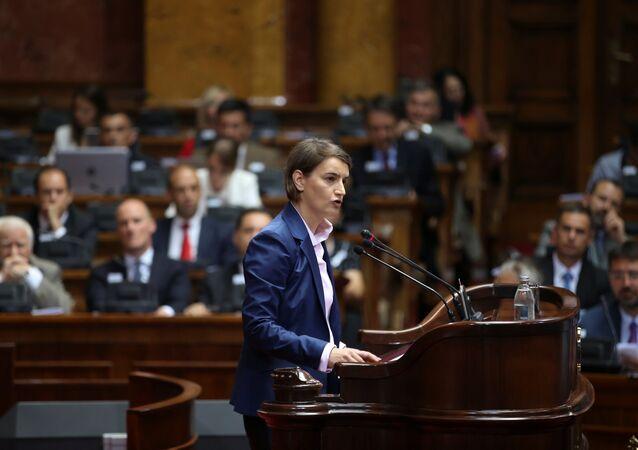 Serbia's Prime Minister designate Ana Brnabic speaks during a parliament session in Belgrade, Serbia June 28, 2017