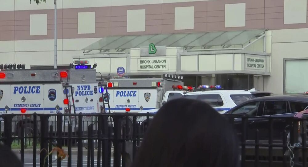 In this image taken from video, emergency personnel converge on Bronx Lebanon Hospital in New York, after a gunman opened fire there on Friday, June 30, 2017.