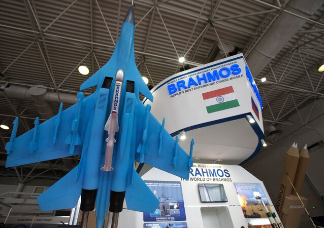 A scale model of the BrahMos missile on display at the 2017 International Maritime Defense Show in St. Petersburg. File photo