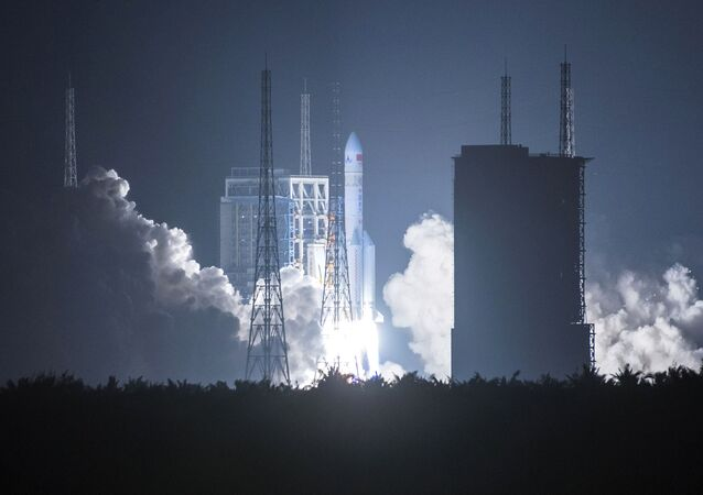China's heavy-lift rocket Long March-5 blasting off from its launch center in Wenchang, south China's Hainan province.