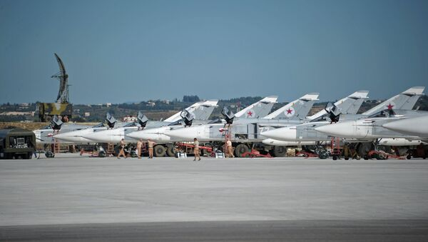 Su-24 bombers of the Russian Aerospace Forces at the Khmeimim airbase in Syria. - Sputnik International